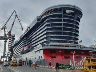 Nave da crociera Virgin Voyages in costruzione presso lo stabilimento Fincantieri di Genova Sestri Ponente